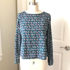 Ann Taylor Petite Printed Blouse Blue Peacock